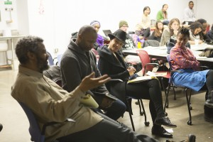 Rashayla Maria Brown with Theaster Gates and Hamza Walker at Critique on the theme of Sustainability.