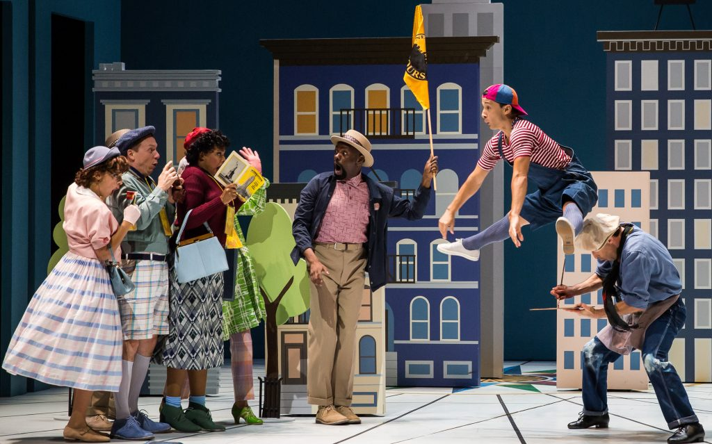 "Nathaniel Braga (jumping) in ""Wonderful Town"" at Goodman Theatre."