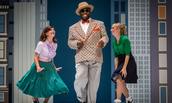 "Dance Center of Columbia College Chicago graduate Tiffany Krause (right) with fellow cast members Erica Stephan and James Earl Jones II in rehearsal for ""Wonderful Town"" at Goodman Theatre."