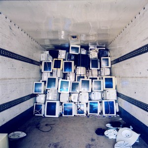 """Photographer Misty Keasler traveled the world to document how countries deal with waste. In Nigeria, electronics store owners will buy old, imported computers in bulk and """"Frankenstein"""" the parts together into working machines. According to Keasler, about half the material is usable, and the other half is then sent to the dumps."""