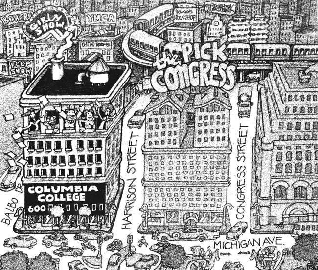 This cover from the 1977 Art Department Handbook illustrates the South Loop's progression: Columbia College in the foreground, set against a neighborhood of girly shows and pawn shops.