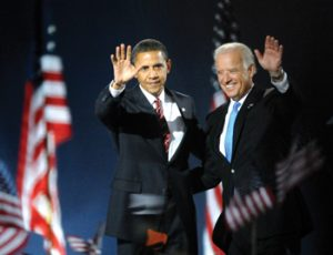 Obama and vice president-elect Joe Biden wave to the crowd, photographed by Jody Warner ('09).