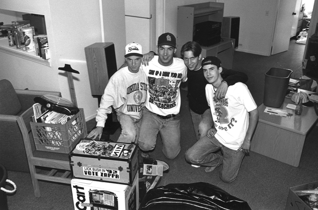 Students unpack their dormitory essentials during a 1993 moving day at Plymouth Court.