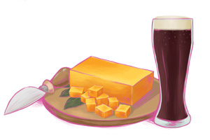"Cheddars for dark beers because ""the saltiness marries well with the richness of a porter."""