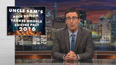 Unkefer uses graphic design and photo manipulation to create a variety of over-the-shoulder graphics for the HBO series Last Week Tonight with John Oliver.