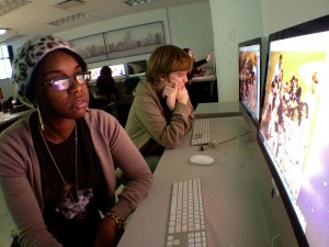 Students in Digital Storytelling practice editing images in Photoshop.