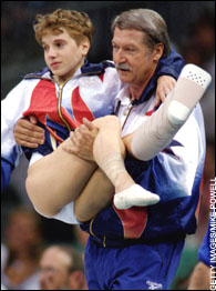 Kerri Strug and Coach Bela Karolyi