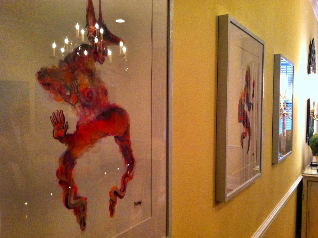 Hanging art at the President's House