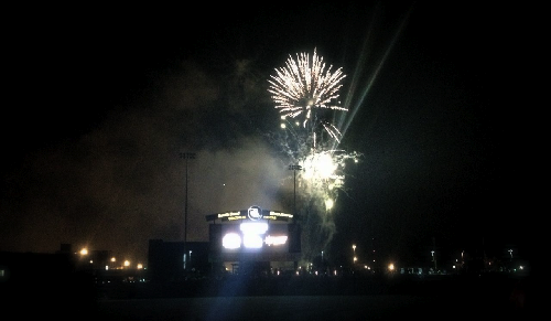 Fireworks after the baseball game.