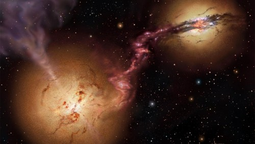 Artist's conception of the 4C60.07 system of colliding galaxies. Credit: David A. Hardy/UK ATC