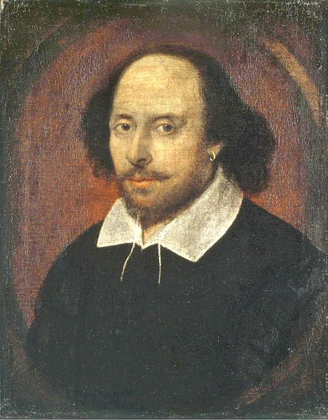 The Chandos portrait, artist and authenticity unconfirmed. National Portrait Gallery, London. (Wikimedia Commons) http://en.wikipedia.org/wiki/File:Shakespeare.jpg