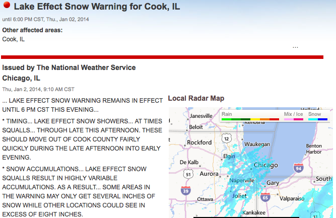 Screenshot from the National Weather Service