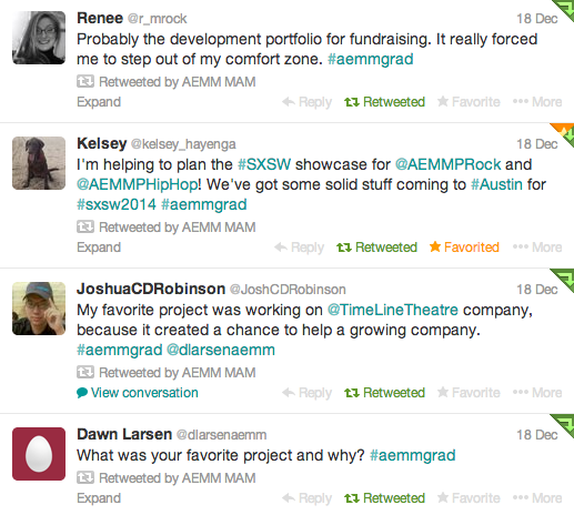 AEMM Grad Students Tell Their Story… in Tweets!