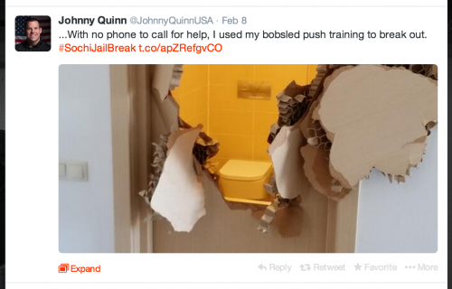 Team USA bobsledder Johnny Quinn resorted to his own antics to gain access into his room. Photo Credit: @JohnnyQuinnUSA; https://twitter.com/JohnnyQuinnUSA/status/432080704776962048/photo/1