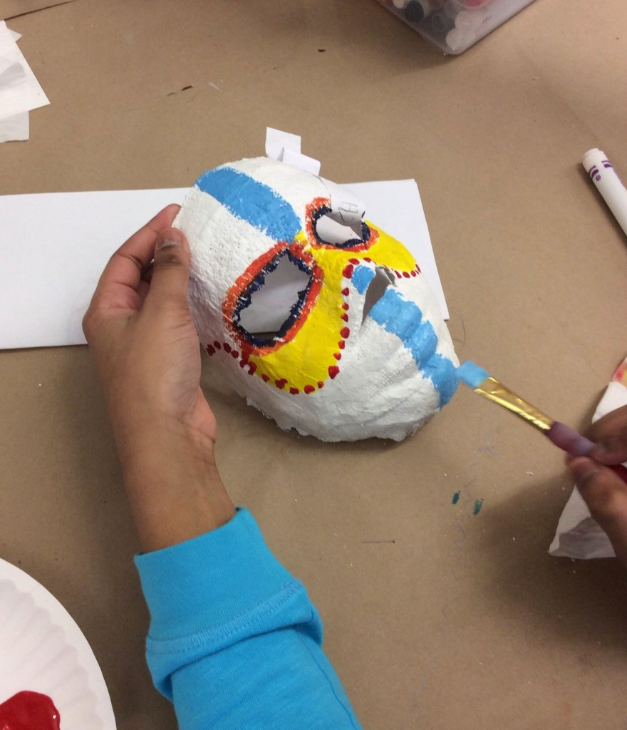 Students Must Plan Out the Steps of Their Masks Before Painting