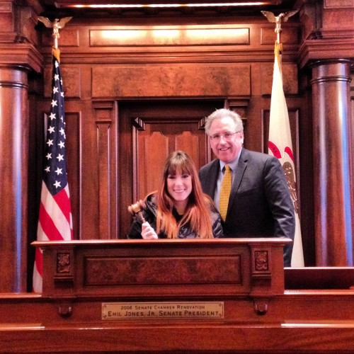 Touring the Senate floor with Illinois Sen. John G. Mulroe (D-Chicago) during our reporting in Springfield trip.