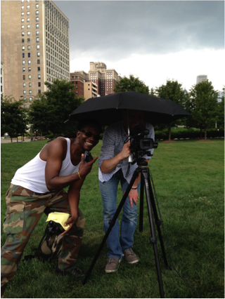 At Grant Park, Producers Tony and Andrew brave the Chicago weather.