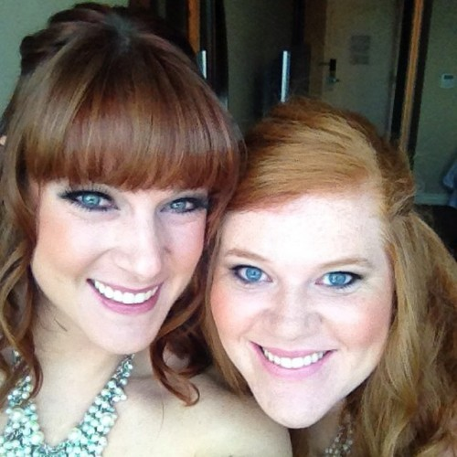 One of my best friends, Emily, and I as bridesmaids for our friend's wedding.