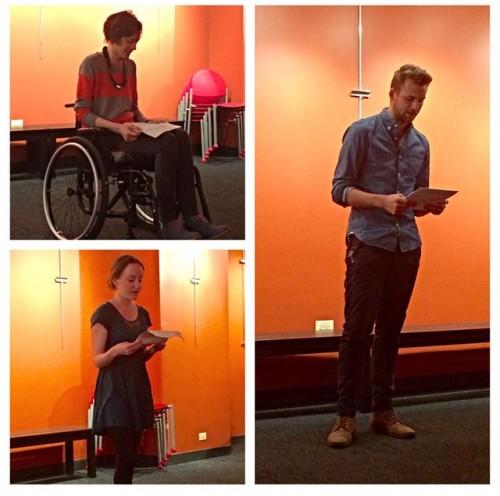 Emily Jean Alexander, Teresa McMahon, and Alex Jaros at the April 33 Reading
