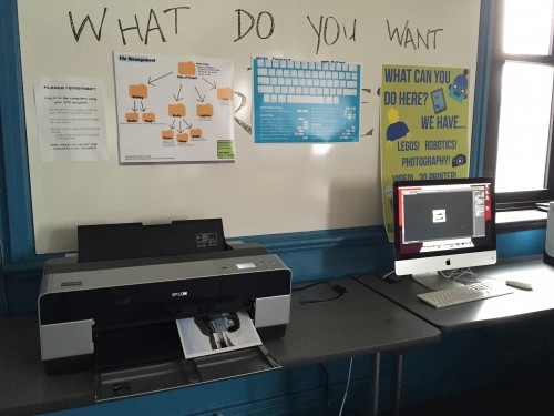 Testing printer at Tilden Career Community Academy