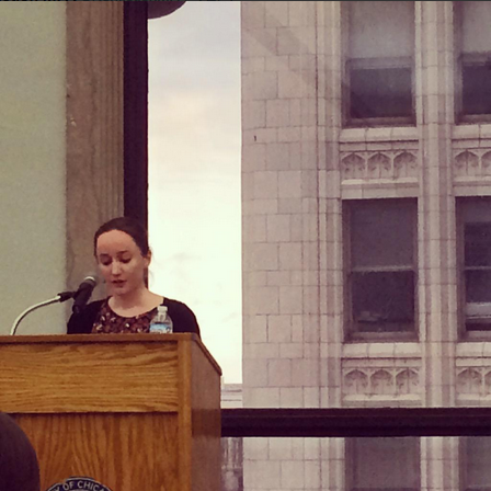 Teresa Mcmahon (Poetry MFA candidate) reading at the Chicago Cultural Center