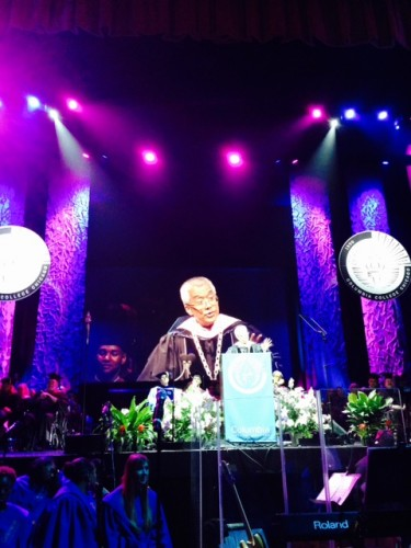 Dr. Kim speaking at the 2015 Commencement Ceremony