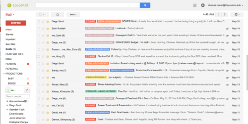 A screen grab of my color coded email organization