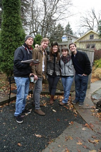 On the set of At Papa's - My director, Emily Railsback and two of her mentees - Omar Moujaes and Sean Hills along with myself and one of my two mentees, Diego Sardi.  Just missing the beautiful Lauren Nichols and it would have been a perfect picture!
