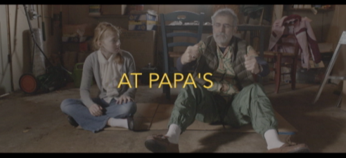 "Opening title credits for my film, ""At Papa's"""