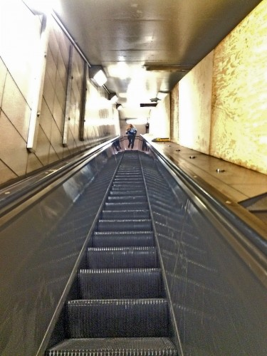 Riding up the world's longest escalator