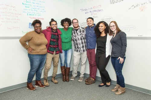 Me and a few members of the Department of Creative Writing's Graduate Student Organization. (From l to r: Negesti Kaudo (Treasurer), Evan Kleekamp, me, Christopher Marnach (advisor), Jan Clay, Desiree Johnson (President) and Kelsey Hoff (Secretary) / Photo Credit: CCC News Office