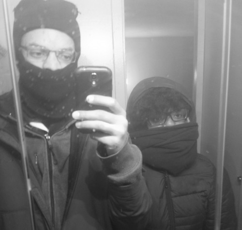 Rahsaan and I on our way to work during last year's blizzard -- we're bundled up similarly this winter too. But do you see my face? I was so over Chicago's weather.