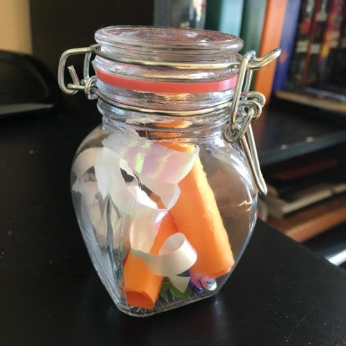 A jar filled with the things that I want to change in myself for this New Year, a gift thought up by a close friend