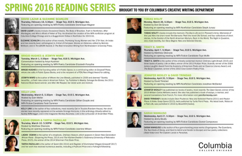 The Spring Reading Series Poster and Line-Up... Pretty good right?