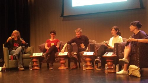 Columbia's Tony Trigilio hosting a panel on the intersection of comics and poetry with cartoonists Marnie Galloway, Patrick Kyle, Krystal DiFronzo, and Sarah Ferrick.