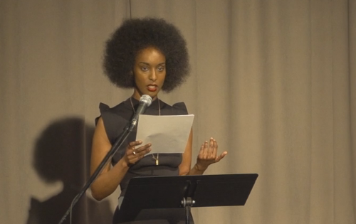 Ladan Osman reading in the spring 2016 Department of Creative Writing reading series