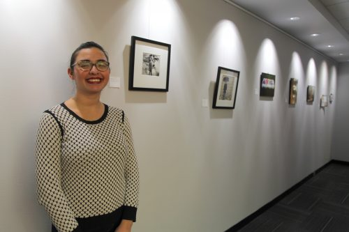 A moment of happiness and calm at the opening reception for my exhibition project, Mediating Bodies.