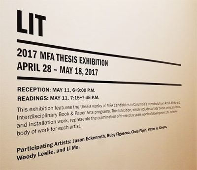 LIT: 2017 MFA THESIS EXHIBITION