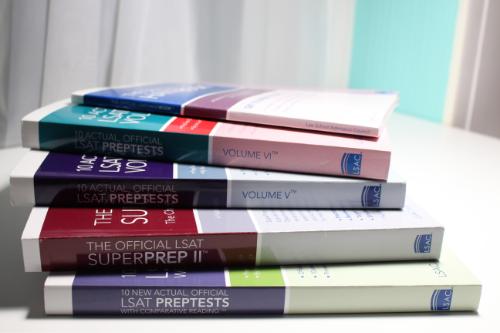 Stack of LSAT Prep books