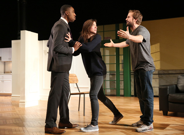 """Michael Stahl-David (right) with Grantham Coleman and Tessa Ferrer in """"Buzzer"""" at the Public Theater."""