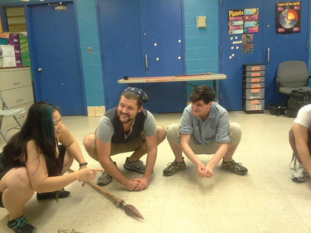 "Columbia College alumna Kim Fukawa and students David Stobbe and Ted Dayton rehearse for ""Nobody's Wench."""