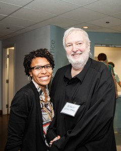 Columbia College Chicago Executive Director of Alumni Relations and Annual Giving Miriam Smith and Columbia College alumnus and Theatre Department teacher Albert Williams