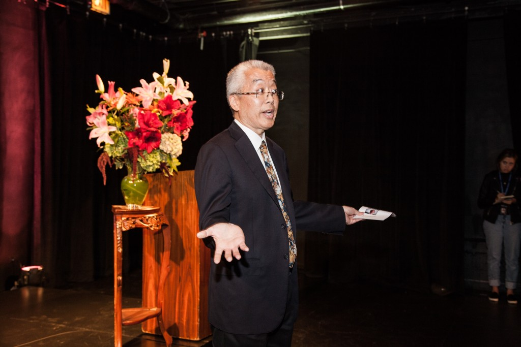 Columbia College Chicago president Kwang-Wu Kim dedicates The Sheldon Patinkin Theatre at the Columbia College Chicago Theatre Center on September 28, 2015.