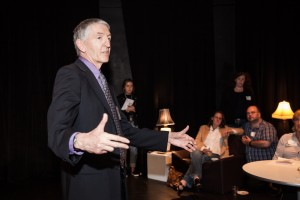 John Green, the Allen and Lynn Turner Chair of the Columbia College Chicago Theatre Department, welcomes attendees to the dedication of The Sheldon Patinkin Theatre
