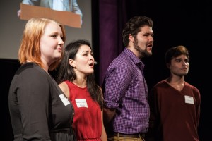 """Lauren Griffith, Courtney Mack, David Stobbe, and Cole McMillan perform """"No One Is Alone"""" at the dedication of The Sheldon Patinkin Theatre"""