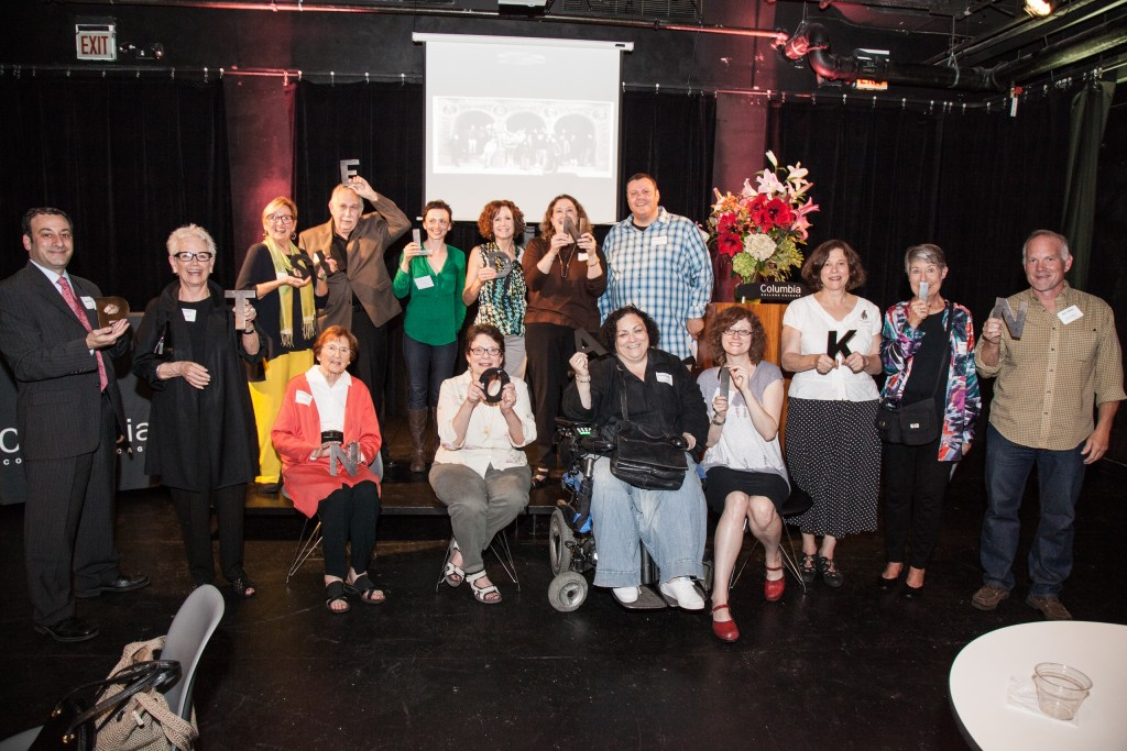 Front row: Columbia College Chicago Vice President of Development and Alumni Relations Jonathan Stern; Jane Nicholl Sahlins; Jackie Patinkin; Lynn Patinkin; Columbia College Theatre Department faculty members Frances Maggio and Wendi Weber; Karen Patinkin; Mary Dietrick; Columbia College Theatre alumnus Matt O'Brien. Back row: Columbia College Music Department instructor Sharon Carlson; Stuart Patinkin; Columbia College Theatre alumna Jackie Katzman; Colleen Crimmins; and Columbia College alumni Kerry Reid and David Babbitt.