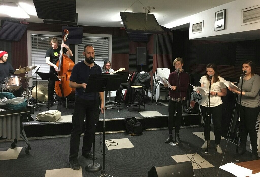 J. Bernard Bowse in rehearsal at the Columbia College Chicago Music Department for his debut EP.