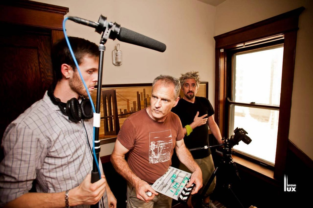 "Brian Shaw (center) on the set of ""Four Monologues"""