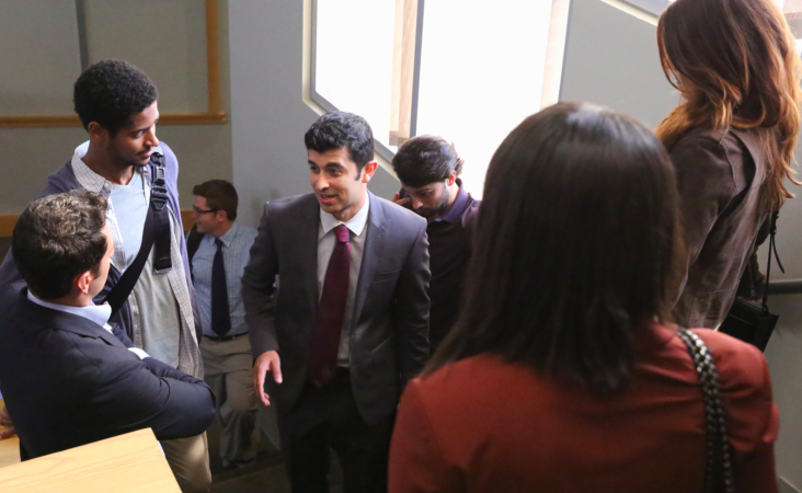 "Behzad Dabu (center) in the ABC TV series ""How to Get Away with Murder."""