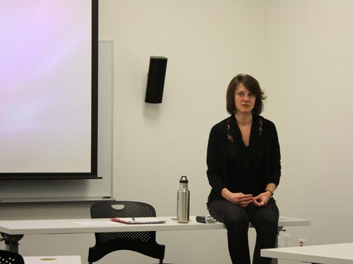 Alexa Rittichier prepares for her presentation.